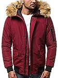 OZONEE Herren Winterjacke Parka Jacke Kapuzenjacke Wärmejacke Wintermantel Coat Wärmemantel Warm Modern Täglichen 777/098K WEINROT 2XL