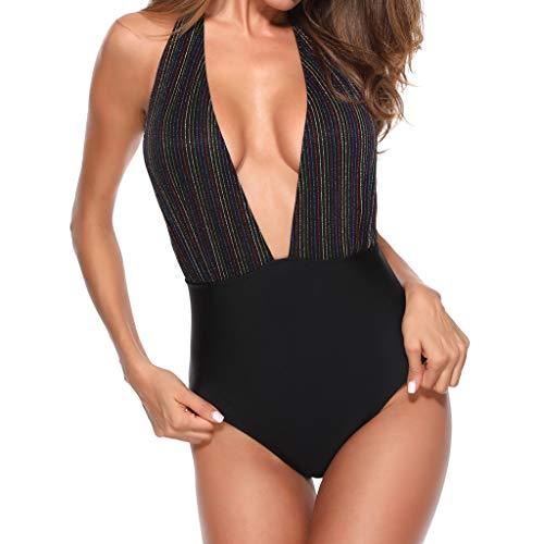 iYmitz 1 Stück Damen Badeanzug Sommer Strandmode Monokini Push Up Gepolsterter Solide Bikini Neckholder Strandbekleidung BH(Schwarz,EU-38/CN-L)