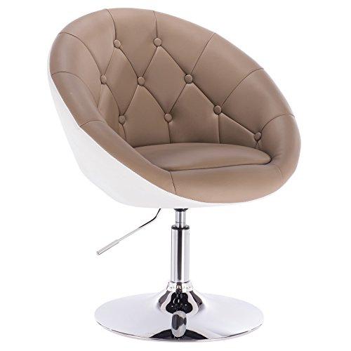 Woltu bh41kkw-1 poltroncina da bar sgabello cucina sedia girevole con schienale braccioli in ecopelle altezza regolabile moderno cachi+bianco