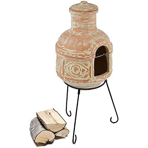 Blumfeldt Montezuma Forno Azteco Camino Caminetto Etnico (Parte Superiore Rimovibile Per Utilizzo Grill, Supporto In Metallo, Canna Fumaria, Design Etnico)