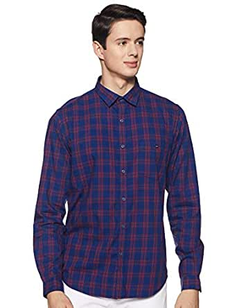 Louis Philippe Men's Checkered Slim fit Casual Shirt (LYSFCSSPF07986_Blue 39)