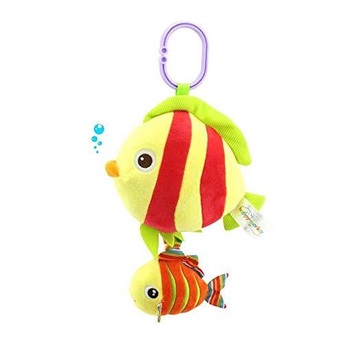 Baby Rassel Spielzeug, Baby Autositz Spielzeug Kinderwagen Spielzeug mit hängender Schnalle, Baby Plüschtier Spielzeug for die Reise (Color : Red Fish) -