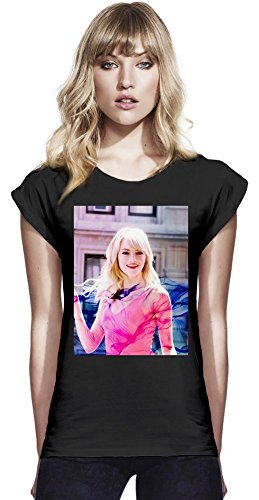 Emma Stone Vivid Continental Frauen-Rolled-Hülsen-T-Shirt Large