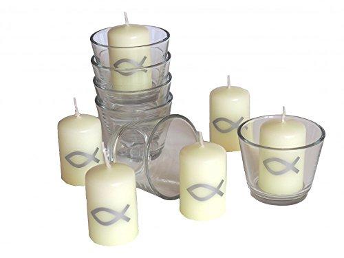SET: 6x Votivglas 6x Kerzen Fisch Silber Kommunion Taufe Konfirmation Tischdeko Kerzendeko