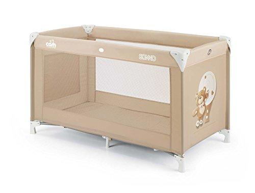 CAM Reisebett Sonno 120x60cm klappbar & leicht zu transportieren | Babybett inkl. Reisebettmatratze, Rollen & Tragetasche | Fenster mit Reißverschluss (Bärchen Braun)