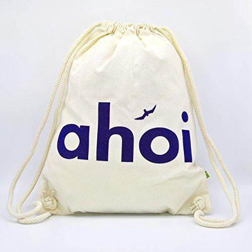 Turnbeutel AHOI - Handmade von Ahoi Marie - Hipster Sport-Beutel in weiß - Maritimer Stoff-Rucksack aus zertifizierter Bio Baumwolle