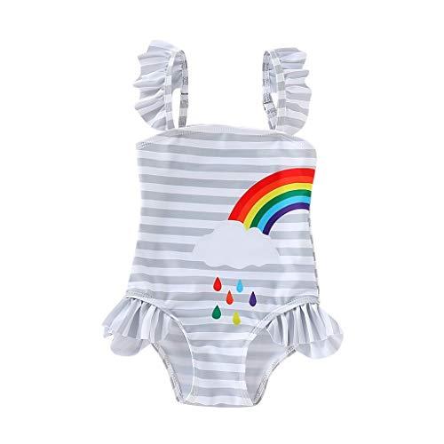 SUNFANY-Badeanzug Bademode Bauchweg Schwimmanzug Tankini Kinder Kinder MäDchen Bikini Beach Strip Regenbogen Print Badeanzug(Grau,4-5 Years)