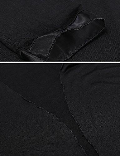 Meaneor Damen Strickjacke Casual Cardigan Jacke Asymmetrisch Offener V-Ausschnitt Longshirt Mit Chiffonabschlüssen Oberteil Übergröße Schwarz