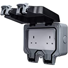 BG Electrical 13amp Double Weatherproof Outdoor Un-Switched Power Socket IP66 Rated