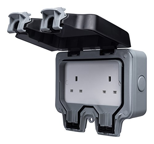 Masterplug WP24 13 A 2-Gang Storm Weatherproof Outdoor Un-Switched Socket IP66 Rated by Masterplug - Switched Socket