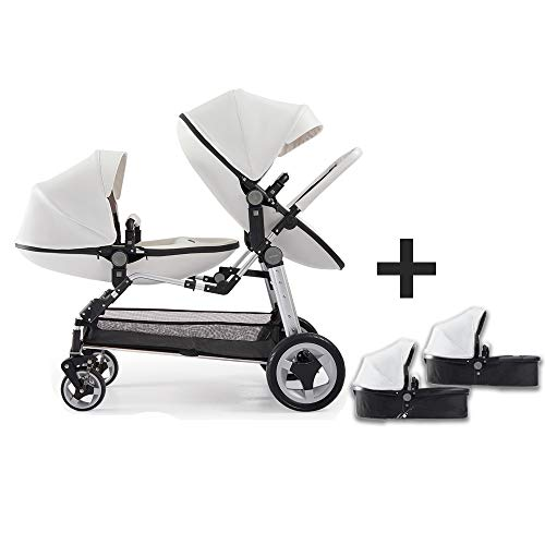 Baby Twin Stroller,Babyfond Double Egg Seat + Sleeping Baskets,High View Foldable Leather Stroller for 0-8 Months Newborn(White)