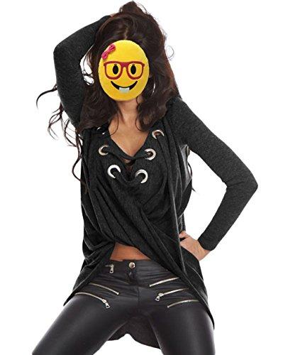 Femmes D¨¦contract¨¦e Longue Manche Bandage Asym¨¦trique Blouses Chemisers Taille Unique Noir