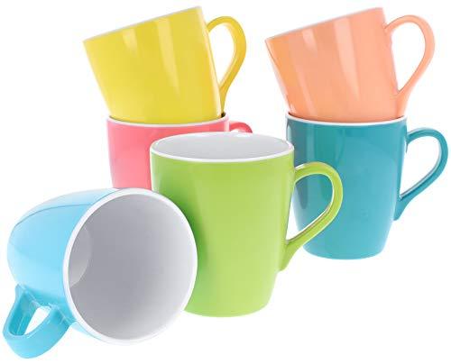 com-four® 6x Trink-Tassen aus Melamin in verschiedenen Farben, perfekt als Geschirr für Party, Camping oder Festival