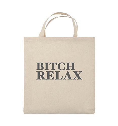 Comedy Bags - BITCH RELAX - Jutebeutel - kurze Henkel - 38x42cm - Farbe: Schwarz / Pink Natural / Grau