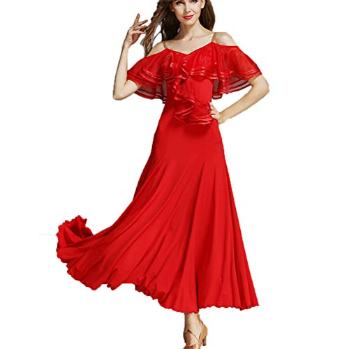 Riemen Sommer Ballsaal Kleider Großes Lotusblatt Kragen Social Tango Dance Lob Kleid Glatte Salsa Tanzkleidung,Red,S (Regenbogen Hell Girl Kostüm)