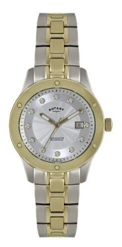 Rotary LB02741/06 - Reloj analógico de cuarzo para mujer, correa de acero inoxidable chapado multicolor