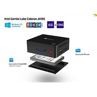 SeeKool Windows 10 X45 Smart Mini PC, Intel Gemini Lake Celeron J4105 Prozessor, 6GB+128G/ Full 4K HD H.265 / 1000Mbps LAN/HDMI / VGA / 2.4G+5.8G Dual WiFi, Unterstützung 2.5 inch SATA SDD& TF Karte