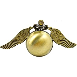 Flying Brass Ball Steampunk Snitch Time Piece Watch With Long Necklace.