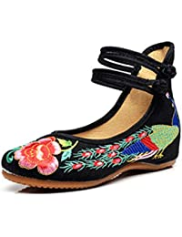 Minetom Vintage Estilo Chino Pintura de Tinta de Plataforma Mary Jane Merceditas de Mujer Flores Bordado Cómodo Casual Zapatos de Party Dress