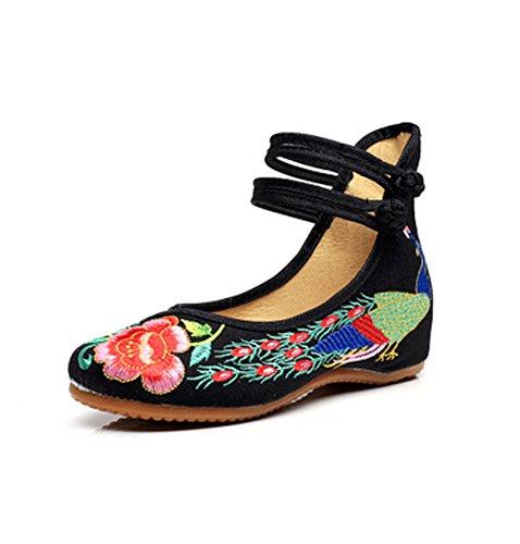 Minetom Damen Elegant Doppel-Bgel Ethnische Bestickte Schuhe Tanzschuhe Niedrigem Keil Ballerina Mary Jane Blumen Flache Schwarz EU 41 (Bestickte Schwarz Clogs)