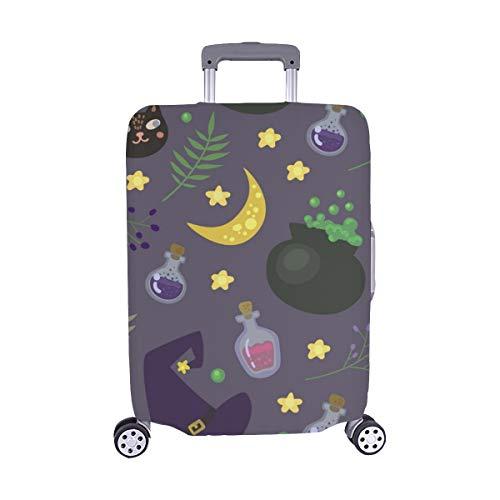 (Nur abdecken) Magic Items Cartoon Spandex-Staubschutz Trolley Protector case-Koffer Reisegepäck-Schutzkoffer-Abdeckung 28,5 X 20,5 Zoll (Hexe Cartoon Magic Halloween)