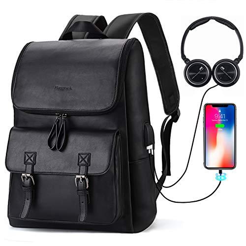 Bageek Zaino Uomo Zaino Porta USB Zaino pc 15.6 Pollici Zaino Pelle Uomo Zaino Multitasche Zaino Nero Laptop/Notebook/Lavoro/Viaggio