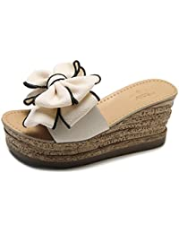 Damen keilschlitten Sandalen Fashion Flower Plateau Outdoor High Heel Sommer Pantoffeln