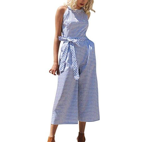 ESAILQ Damen Sommer Jumpsuit Elegant Blumen Floral Shulterfrei Klied Playsuit Chiffon Overall Romper mit Rüschen Weiß(L,Blau)