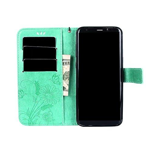 Horizontale Bookstyle Flip Case Premium PU Ledertasche, Solid Color Embossed Blumen Schutzhülle Tasche Tasche mit Lanyard & Stand für Samsung Galaxy S8 Plus ( Color : Purple ) Green