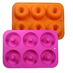 Uarter Silikon Donut Backform Silikon Donut Formen Donut Backblech mit 6 Hohlraum, ideal für Kuchen, Keks, Bagels und Muffins, Set 2, Orange und Rose Red