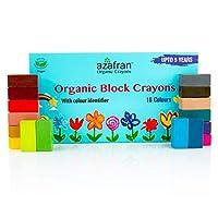 Azafran Organic Crayons Organic Block Crayons, 16 Colours - 120 Grams