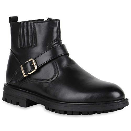 Stiefelparadies Herren Schuhe Biker Boots Leder-Optik Warm Gefütterte Stiefeletten 151133 Schwarz Schnallen Black 40 Flandell