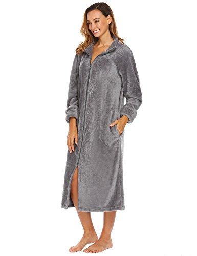 Caeasar Damen Bademantel Nachtwäsche Morgenmantel Saunamantel weiches Coral-Fleece Lange Schlaf Robe (Coral-robe)