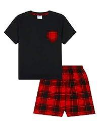Trendy Jungen Schlafanzug, gewebt, kurz, Rot/Schwarz Gr. 15-16 Jahre, Schwarz
