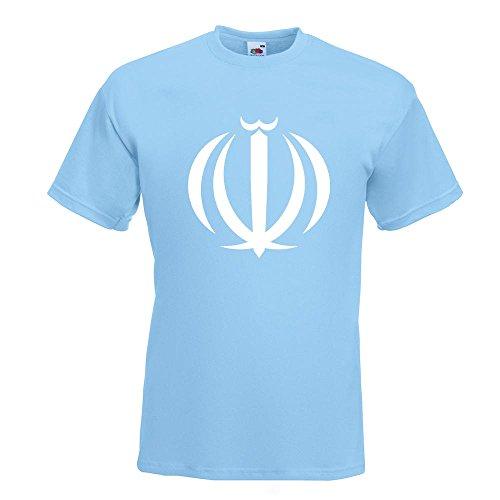 KIWISTAR - Hoheitszeichen des Iran T-Shirt in 15 verschiedenen Farben - Herren Funshirt bedruckt Design Sprüche Spruch Motive Oberteil Baumwolle Print Größe S M L XL XXL Himmelblau