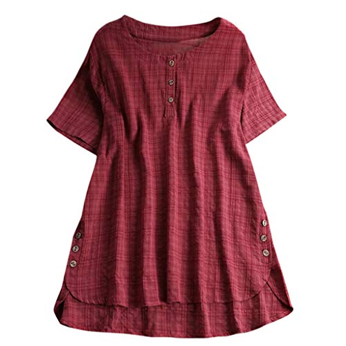 QingJiu Damen T-Shirt Mode Frauen Kurzarm Kaftan Baggy Button Baumwolle Leinen LäSsige Tunika Bluse (Medium, ()