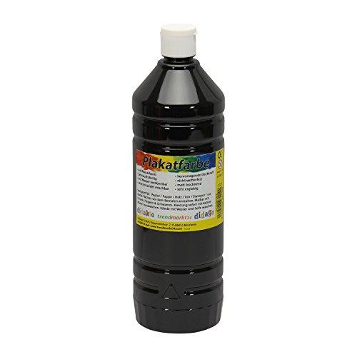 Plakatfarbe Flasche schwarz, matt 1 Liter / 1000ml flüssig ✓ 1l Temperafarbe Malfarbe...