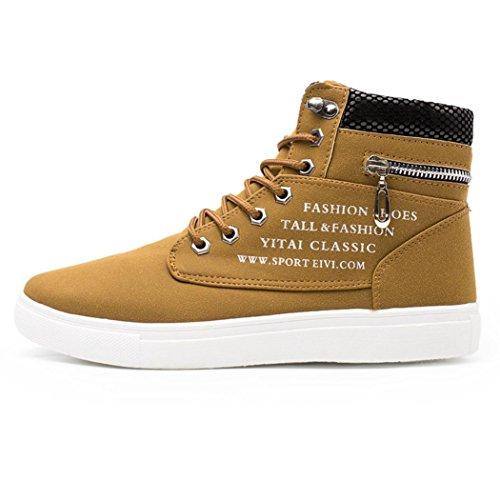 Cloom scarpe da uomo casual, scarpe da uomo e donne, nuovo stile lace-up scarpe di tela moda casuale scarpe alte, confortevole traspirante scarpe basse stivaletti high-top scarpe sneakers(cachi,41)