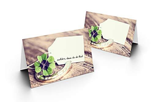 Karten24Plus 25 Tischkarten (Kleeblatt und Hufeisen) UV-Lack glänzend - für Hochzeit, Geburtstag, Jubiläum. als Tischdekoration!Format 8,5 x 11,2 cm