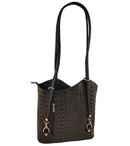 FreyFashion - Made in Italy, Borsa a zainetto donna motivo: coccodrillo, colore nero