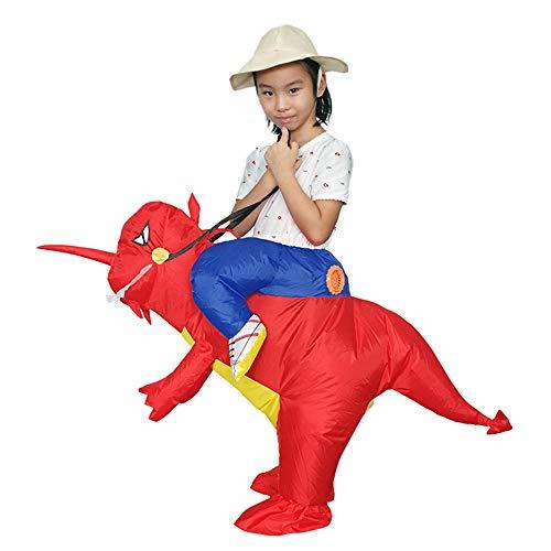 ASHOP Tuta Tuta Del Partito Costumes Il Costume Divertente Gonfiabile Del T-Rex Del Dinosauro Dei Vestiti Di Carnevale Jumpsuit (120-150 Taglia unica, Rosso)