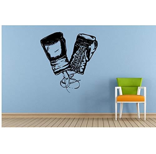Mrlwy Boxer Boxer Handschuhe Kunst Wandtattoo Paar Boxhandschuhe Silhouette Home Wohnzimmer Dekor Wandaufkleber Sport Martial 42X47Cm