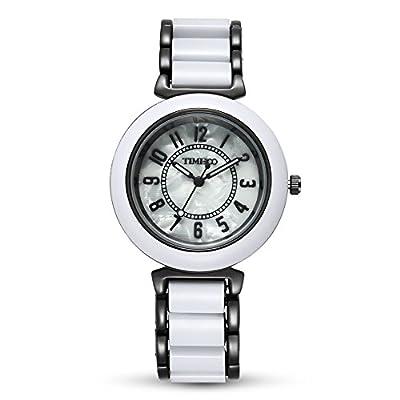 Time100 Reloj curazo para mujer con correa copia cerámica la esfera con aleación con diamantes