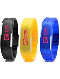 Pappi Boss Silicone Set Of 3 Jelly Slim Digital Led Bracelet Band Multicolor Dial Boys And Girls Watches-Led Band Offers