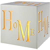 WeRChristmas Pre-Lit LED Home Block Decoration, Wood, 20 cm - White