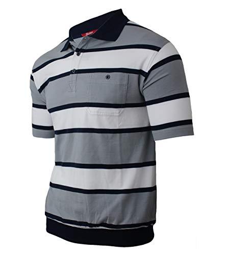 Lässige Cotton Polo Shirt (Soltice Herren Kurzarm Gestreifte Polo Shirts, Polohemd, Blousonshirts aus hochwertigem Baumwoll-Mix (M bis 3XL) (XL, [A] Grau Weiss))
