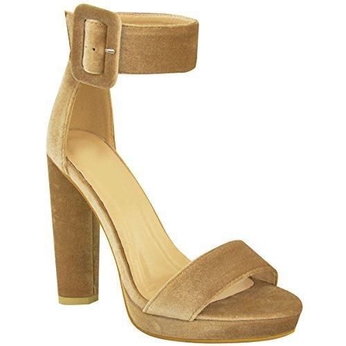 Donna BLOCCO sandali tacco alto velluto caviglia con spalline fibbia plateau taglia color Moca Marrone Velluto