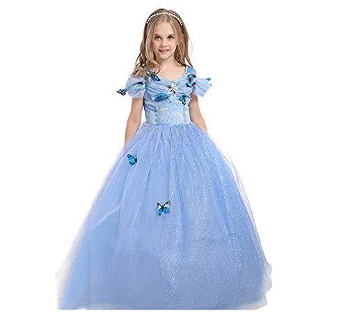 Chandy Sommer Kostüm Kinderkleidung Cinderella Prinzessin Rock Mädchen Tutu Rock Romantik Leistung Kostüm Kleid (Cinderella Kostüm Tutu)