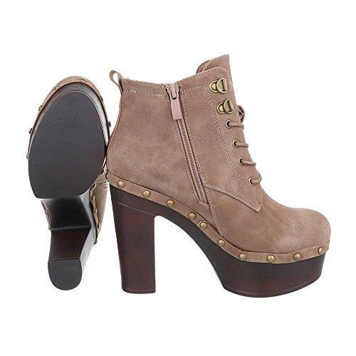 Schnürer Alto design Claro Ankle Castanho Botas Calçados Escorregar 542 Boots 55 Salto Femininos Ital Bombear Zip 8vdAqvS
