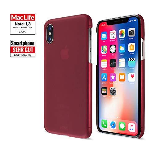 Artwizz Rubber Clip Schutzhülle für iPhone X Xs - schlanke Design Hülle mit Soft-Touch-Beschichtung & geschmeidigen Grip - iPhone Case Designed in Berlin - Berry rot - 6397-2172 Schlankes Design